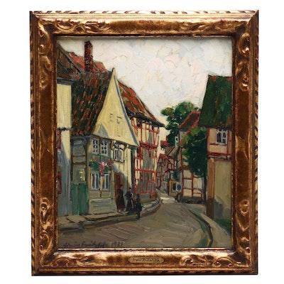Irwin Fritzfisa Oil Painting of European Street Scene