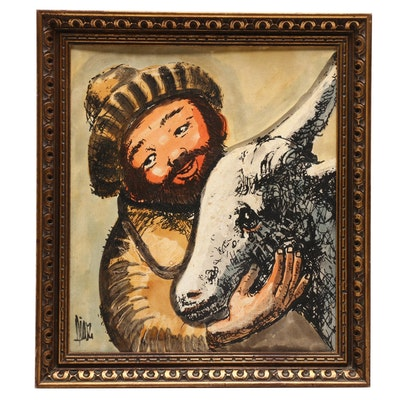 Oil Painting of Man with Goat