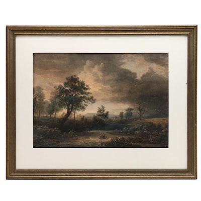 Watercolor Painting of Vast Landscape