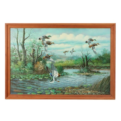 Waterfowl Wildlife Oil Painting
