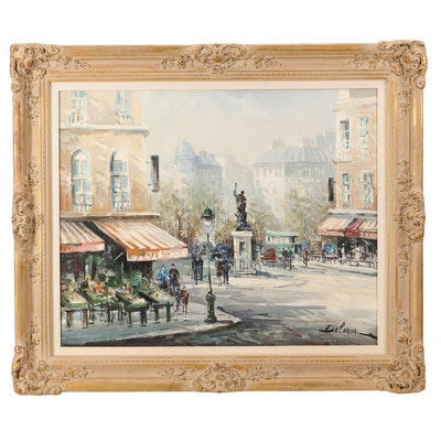 Lucien Delarue Parisian Street Scene Oil Painting