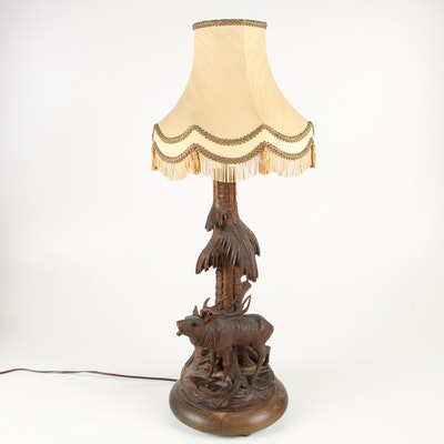 Black Forest Carved Stag Form Table Lamp, Mid-Century