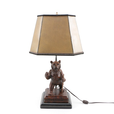 Black Forest Style Bear Figural Table Lamp
