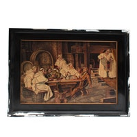 Oil Painting of Monks Drinking with Guests in Cellar