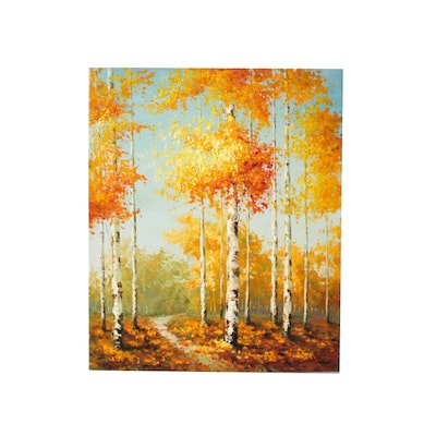 Oil Painting of Forest Scene