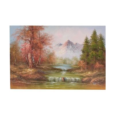 Wayfield Oil Painting of Mountain Scene