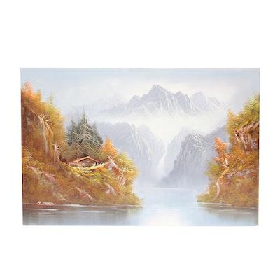 R. Boren Oil Painting of Mountain Scene