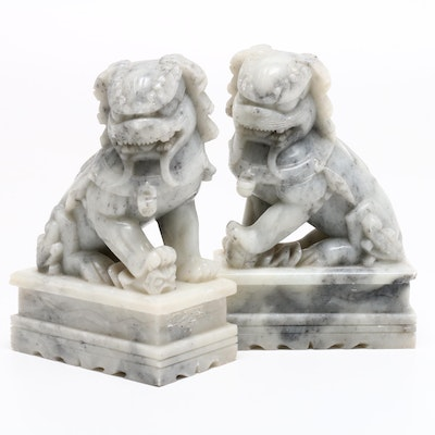 Chinese Marble Guardian Lion Bookends, Mid to Late 20th Century