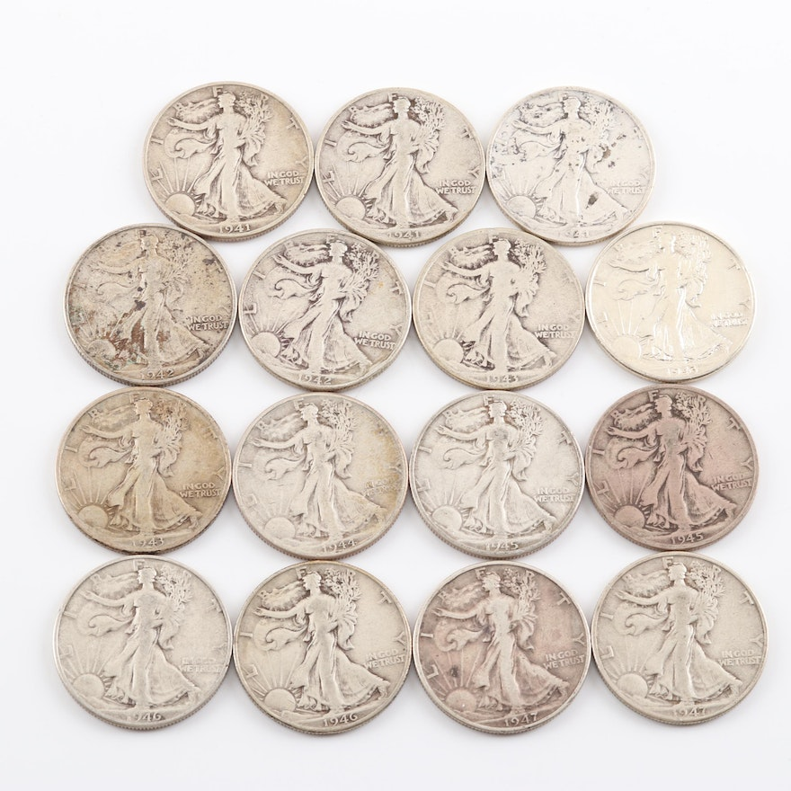 Fifteen Walking Liberty Silver Half Dollar Coins