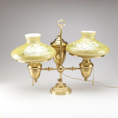 Converted Brass Double Student Lamp with Hand-Painted Glass Hurricane Shades