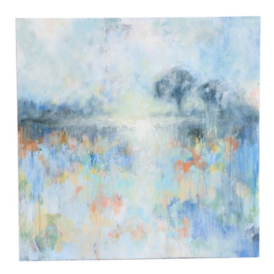 """Sarah Brown Abstract Acrylic Painting """"Distant Light"""""""