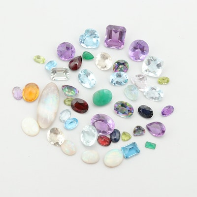 Loose 94.40 CTW Opal, Amethyst, and Topaz Gemstones