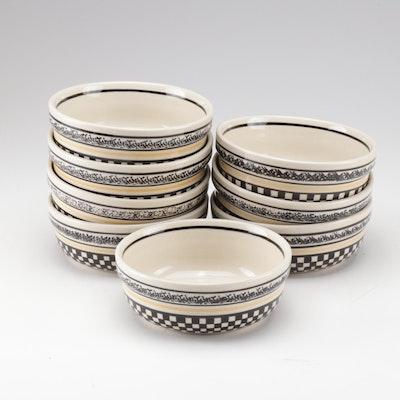 Hand-Painted Boleslawiec Polish Pottery Bowls, Set of Eight