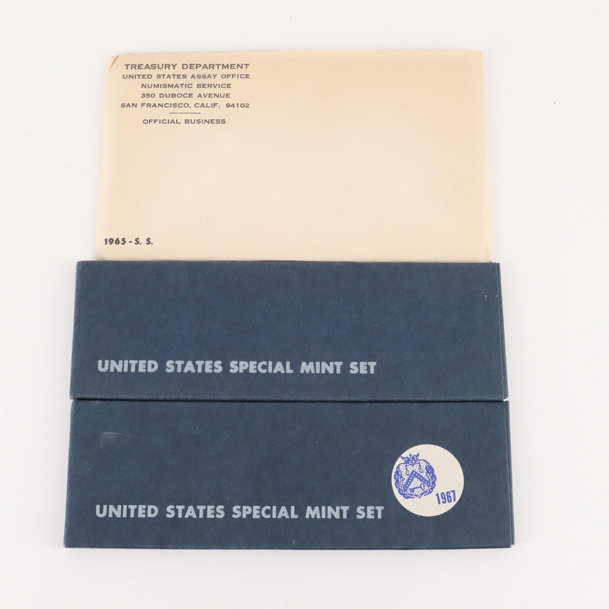 Three United States Special Mint Sets Including 1965, 1966, and 1967