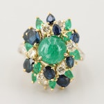 Circa 1950s 18K Gold 1.18 CTW Diamond, 3.42 CT Emerald and Blue Sapphire Ring