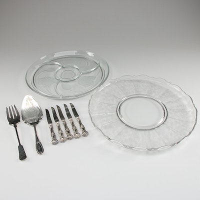 Etched Glass Serving Trays and Silver Plate Serveware