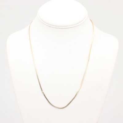 Gold Wash on Sterling Silver Herringbone Chain Necklace