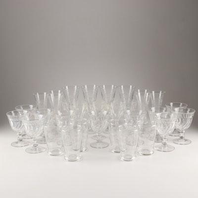 Mixed Pattern Glass Stemware