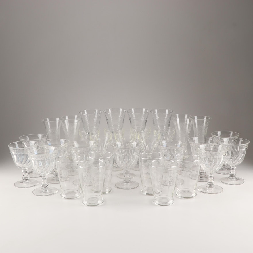 Mixed Pattern Glass Stemware