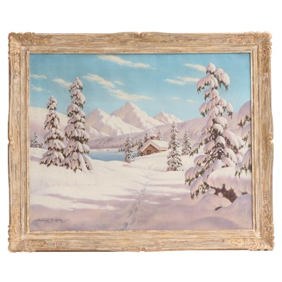 "Frederick D. Odgen Oil Painting ""Winter Landscape, Rocky Mountains"""