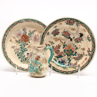 Japanese Moriage Decorated Earthenware Tableware, Circa 1920s - 1930s