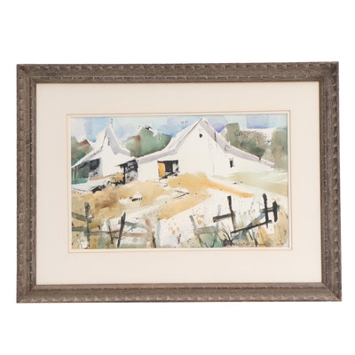Don Dennis Abstract Watercolor Painting of Farm Buildings