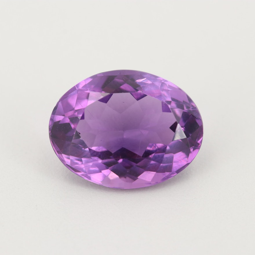Loose 18.64 CT Oval Faceted Amethyst Gemstone