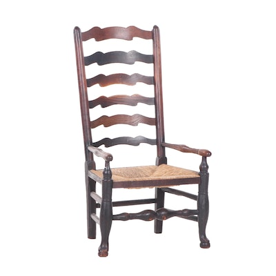 Queen Anne Style Oak and Rush-Seat Armchair, Early 20th Century