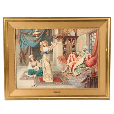 Giuseppe Guidi Orientalist Style Watercolor Painting