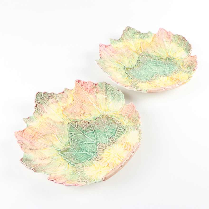 Porta Portuguese Majolica Leaf Plates