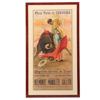 1941 Lithographic Bullfighting Poster after Juan Reus