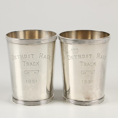 Amston Sterling Silver Detroit Race Track Julep Cups, 1951