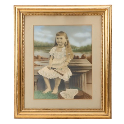 Crayon Portrait of Young Girl Seated Near Lake Holding a Fan