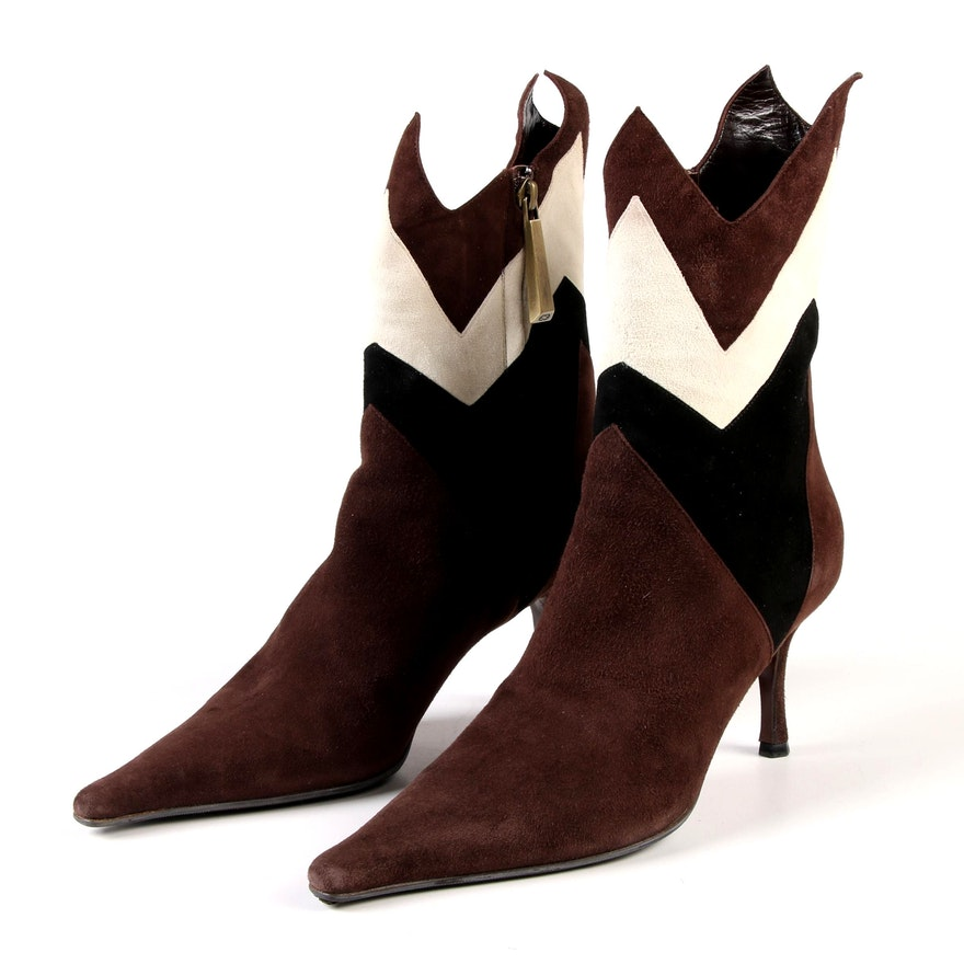 Escada Jane Zigzag Dark Brown, Black and Cream Suede Stiefeletten Booties
