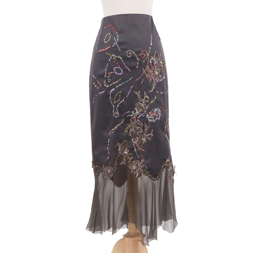 highly praised baby 60% clearance Mandalay Embroidered and Sequined Black Silk Maxi Skirt