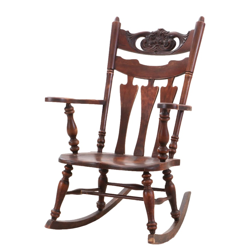Art Nouveau Style Birch Rocking Chair, Early-20th Century