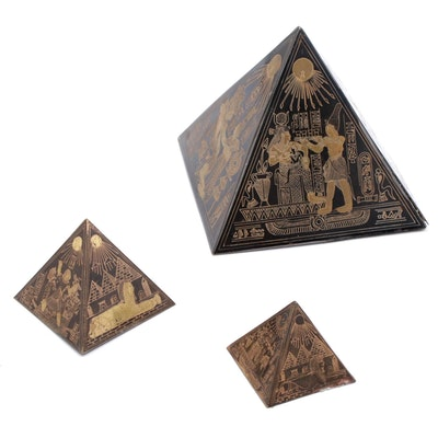 Illustrated Egyptian Pyramid Paperweights Contemporary