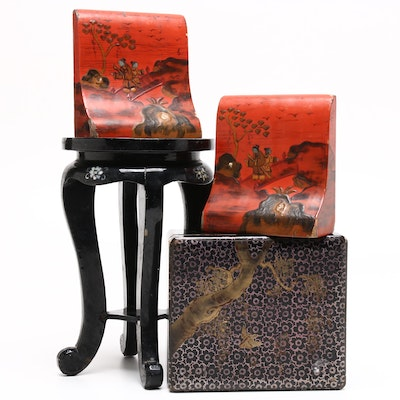 Japanese and Chinese Lacquer Decor including Nikko Ware Bookends