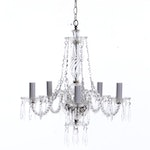 Glass Five-Light Chandelier with Crystal Pendants, Contemporary