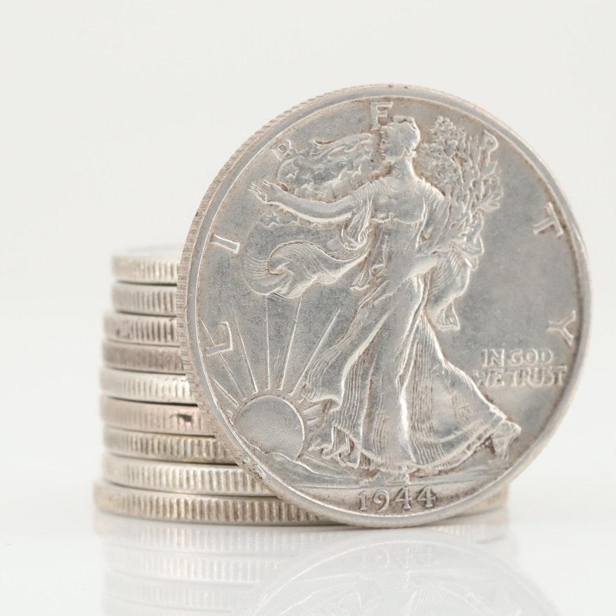Ten Walking Liberty Silver Half Dollars Ranging from 1934-1945