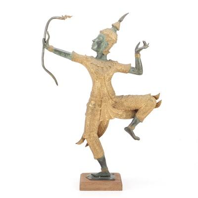 Thai Rama Archer Bronze Sculpture