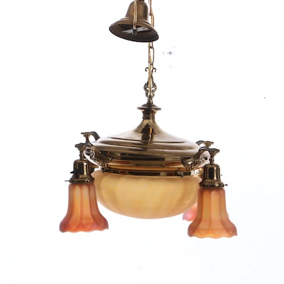 Metal Four Down Light Pendant with Glass Shades