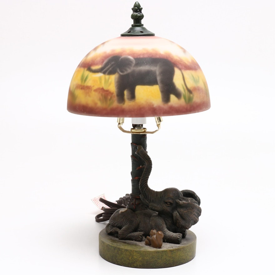 Metal Desk Lamp with Elephant Figurine, Late 20th Century