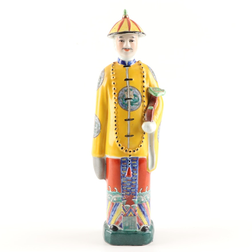 Chinese Hand-Painted Porcelain Emperor Figurine