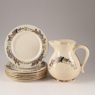 Pennsbury Pottery Galloping Horse Themed Plate and Pitcher, Mid-Century