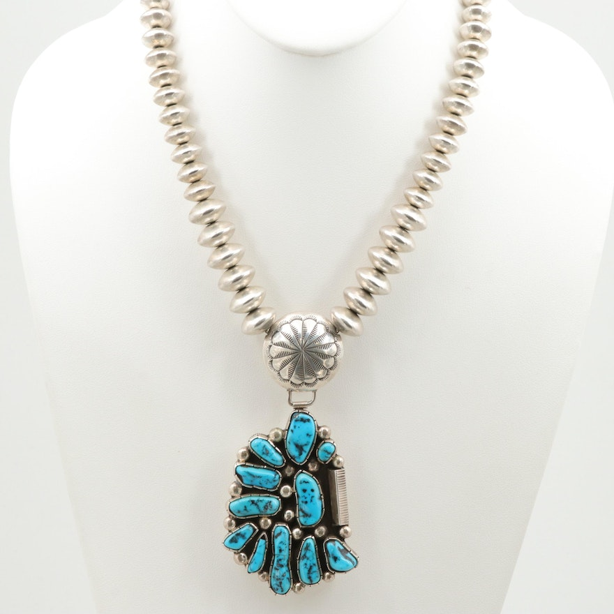 Southwestern Style Sterling Silver Turquoise Pendant Concho Beaded Necklace