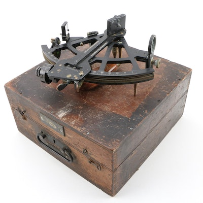 David White Co. Mark II Naval Sextant with Engraved Wooden Case, 1943