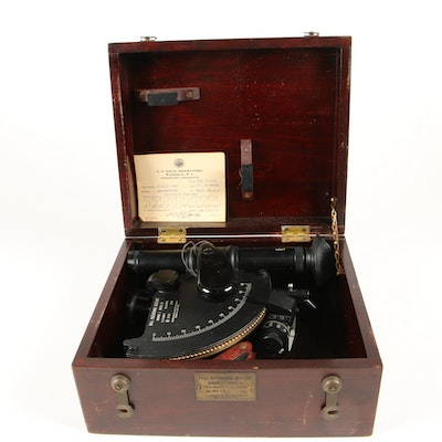 Mergenthaler Ball Recording Sextant Mark I with Wooden Case, 1944