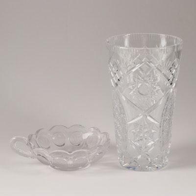 "Fostoria ""Coin Glass Clear"" Handled Nappy and American Brilliant Cut Glass Vase"