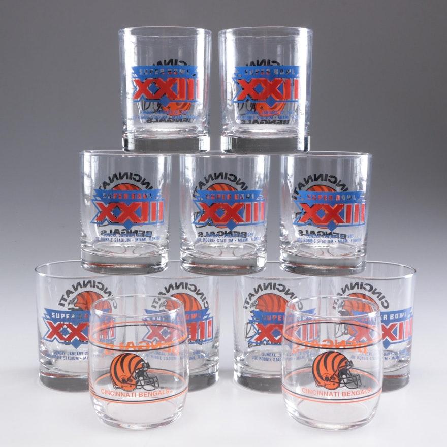 Cincinnati Bengals Superbowl XXIII Glass Tumblers, Contemporary